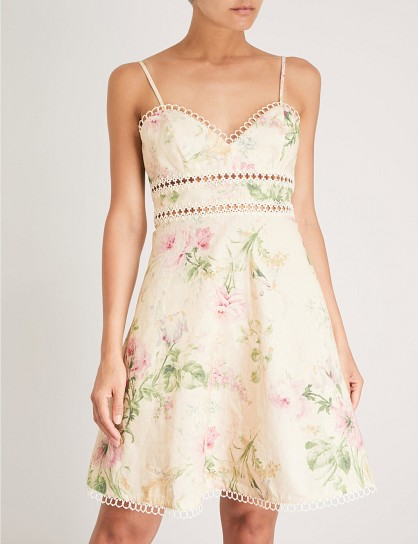 ZIMMERMANN Iris linen and cotton-blend sun dress / strappy floral fit and flare