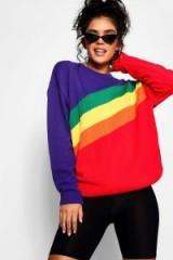 boohoo Zoe Rainbow Stripe Oversized Jumper ~ slouchy sweaters