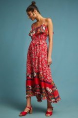 One September Zuri Maxi Dress at Anthropologie | red floral summer dresses
