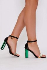 IN THE STYLE ZYANA BLACK SATIN IRIDESCENT CLEAR STRAP BARELY THERE HEELS ~ strappy going out sandals