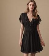 Reiss ADIE BROKEN STRIPE PRINTED DRESS BLACK ~ lbd ~ floaty fit and flare