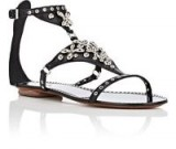 ALAÏA Flower-Embellished Leather T-Strap Sandals | strappy jewelled flats