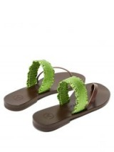 ÁLVARO Alberta leather sandals ~ brown and metallic-green flats