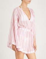 ALEXANDRA MIRO Candy striped chiffon playsuit Pink and White ~ sheer cover up ~ beachwear