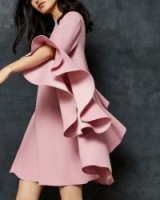 TED BAKER ASHLEYY A-line waterfall sleeve dress in Dusky Pink ~ statement fashion