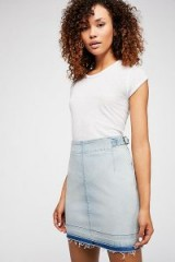 Free People All That I Need Pencil Skirt Pale Blue | frayed denim