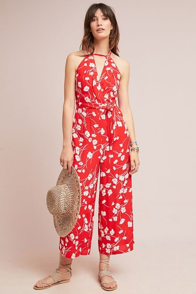 Maeve – Andros Printed Jumpsuit in Red Motif / floral summer clothing