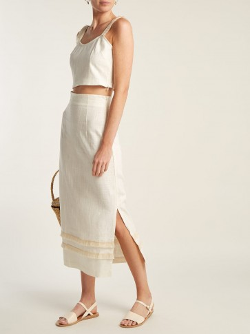 STAUD Andy raffia tassel-trimmed linen-blend skirt ~ casual chic