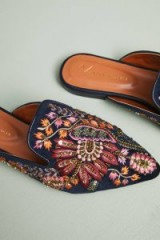 Anthropologie Embroidered Springtime Slides in black motif | flat mules | luxe flats