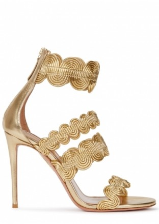 AQUAZZURA Jodhpur gold leather sandals – scalloped style heels