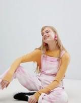 ASOS DESIGN denim tie dye dungaree in pink | marbled overalls