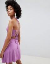 ASOS DESIGN halter strappy back sundress in Violet