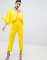 ASOS DESIGN Jumpsuit With Kimono Sleeve And Peg Leg in Yellow