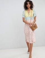 ASOS DESIGN midi mixed print pretty tea dress | pastel colourblock frock | vintage style