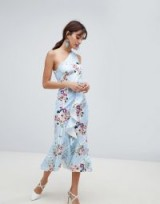 ASOS DESIGN one shoulder midi dress in blue stripe floral print ~ ruffled party wear