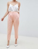 ASOS DESIGN Petite tailored contrast satin tapered trouser – nude-pink cropped leg front pleat suit trousers