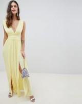ASOS DESIGN premium lace insert pleated maxi dress – plunging – front slit
