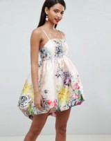 ASOS DESIGN Satin Puffball Dress In Occasion Bloom Print | party princess
