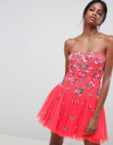ASOS EDITION Bandeau Tulle Embellished Mini Dress – strapless pink party dresses