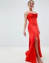 ASOS DESIGN Petite bias cut satin slip maxi dress with drape neck in orange