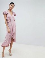ASOS DESIGN Tall ruffle midi dress in rippled satin with cut out back in blush ~ pink party dresses