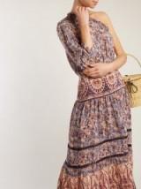 SEA Asymmetric silk-crepe dress – ornate prints – one shoulder/sleeve