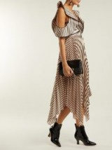SELF-PORTRAIT Asymmetric striped satin dress ~ statement cold shoulder