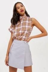 Topshop Lilac Leather Asymmetric Wrap Mini Skirt