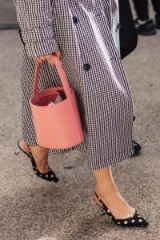 Houndstooth print coat, monochrome polka dot slingbacks and a pink leather bucket bag ~ chic looks from Mercedes-Benz Fashion Week Australia 2018