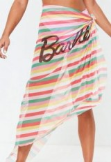 barbie x missguided pink stripe sarong ~ logo beachwear