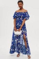 Topshop Blue Floral Bardot Maxi Dress | off the shoulder
