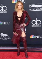 Jennifer Lopez wears a Roberto Cavalli velvet and burgundy leather outfit to the 2018 Billboard Music Awards, held at the MGM Grand Garden Arena in Las Vegas – celebrity fashion – red carpet style outfits
