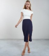REISS BEAU DOUBLE SPLIT PENCIL SKIRT NAVY / chic day fashion