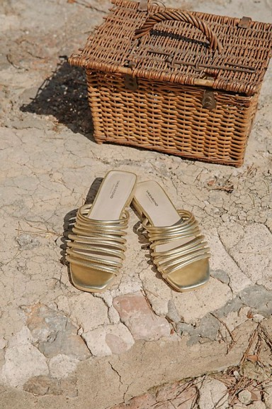 Vagabond Shoemakers Becky Slide Sandal in gold | strappy summer flats