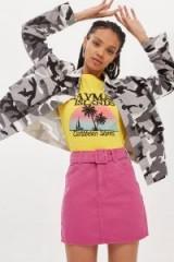 Topshop Belted High Waisted Denim Skirt | pink A-line skirts