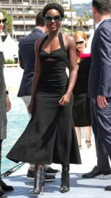 Lupita Nyong'o wore a black ruched halter dress with fluted hem for the 355 cocktail party during the Cannes Film Festival 2018 – celebrity style