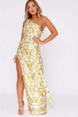 BILLIE FAIERS WHITE BAROQUE PRINT SIDE SPLIT MAXI DRESS ~ luxe style ~ going out glamour
