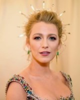 Blake Lively wearing a spiked halo style headpiece at the 2018 Met Gala Heavenly Bodies: Fashion and the Catholic Imagination | celebrity updos | red carpet hair and make up