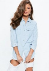 missguided blue stonewash fitted distressed denim shirt – ripped – frayed – casual – shirts