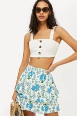 Topshop Bluebell Shirred Mini Skirt | blue floral print rara