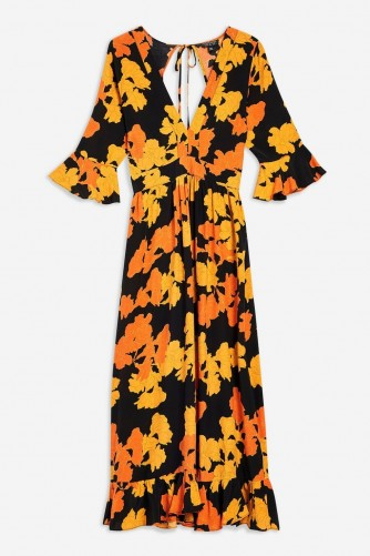 TOPSHOP Bold Floral Print Midi Dress – 70s vintage style fashion