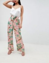 Boohoo Petite Wide Leg Floral Trousers – pink and green tie waist pants