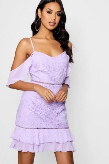 Boutique Harriet Lace Ruffle Mini Dress in Lilac – gold shoulder – going out fashion - flipped