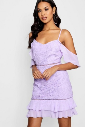 Boutique Harriet Lace Ruffle Mini Dress in Lilac – gold shoulder – going out fashion