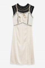 Topshop Bow Diamante Midi Dress in ivory | silky vintage style fashion