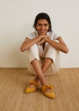MANGO Bow leather shoes Mustard | yellow flat mules
