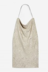 Topshop Sequin Cowl Neck Dress in gold | sparkly halter party fashion