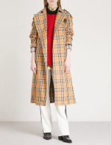 BURBERRY Checked cotton-twill trench coat antique yellow