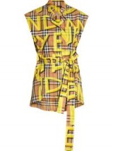 BURBERRY Sleeveless Graffiti Print Vintage Check Cotton Shirt in bright yellow