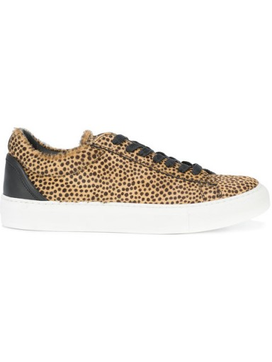 BUSCEMI animal print sneakers – brown and black leather trainers